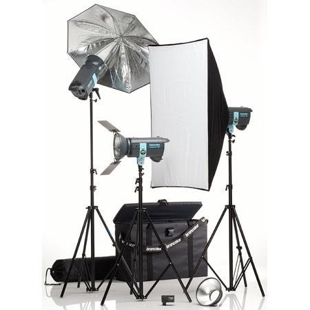 Broncolor Minicom Expert Monolight Kit, with Three 600 Ws Minicom 80 RFS Monolights Optimized for 230V or 120V, Light Stands, Umbrella & Travel Bag.