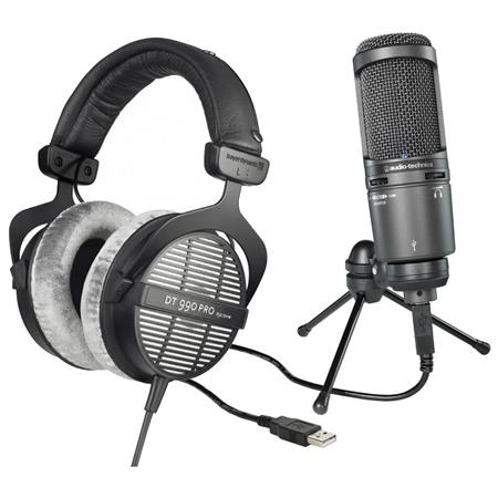 Beyerdynamic DT 990 Pro 250Ohms Dynamic Open Headphone - Bundle With Audio-Technica AT2020USB+ Cardioid Condenser USB Microphone