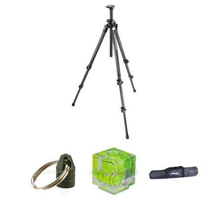 Manfrotto 055CXPRO3 CF Tripod-3 Section Kit, with Adorama Tripod Case, Double Bubble Level, Tripod Hanger