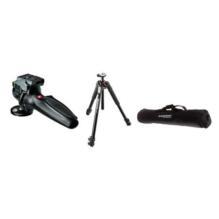 Manfrotto BGMT055XP3 Black Tripod Kit, with Manfrotto 327RC2 Lightweight Magnesium Body Joystick Head, & Adorama Tripod Case