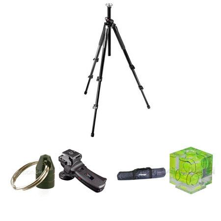 Manfrotto MT055XPRO3 Black Tripod Kit, with  322RC2 Head, Adorama Tripod Case, Double Bubble Level, Tripod Hanger