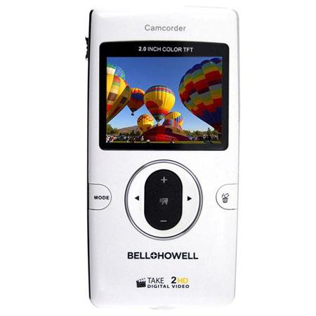 "Bell+Howell Take-2HD High Definition Digital Video Flip Camcorder, 5MP, 1280x720p, 4x Digital Zoom, 2"" LCD Screen, White"