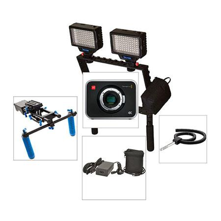 Blackmagic Design Production Camera 4K EF Mount - Bundle - with Cinema Camera Handles, and Bescor Dual LED-70 Light Package with Battery and Charger