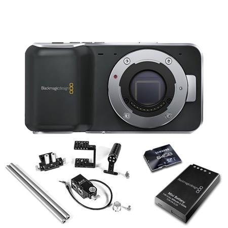 Blackmagic Design Pocket Cinema Camera Body with Micro Four Thirds Lens Mount - BUNDLE - with 2x Blackmagic Batteries, 64GB SDXC Pro UHS-1 Class 10 Memory Card, and Wooden Camera Fixed Kit