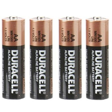 Duracell AA Battery, 1.5 volt Alkaline, Pack of 4