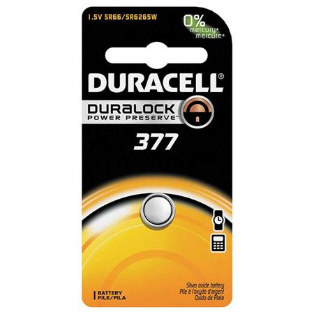 Duracell D377 Watch/Electronic Silver Oxide Battery, 1.5 Volt