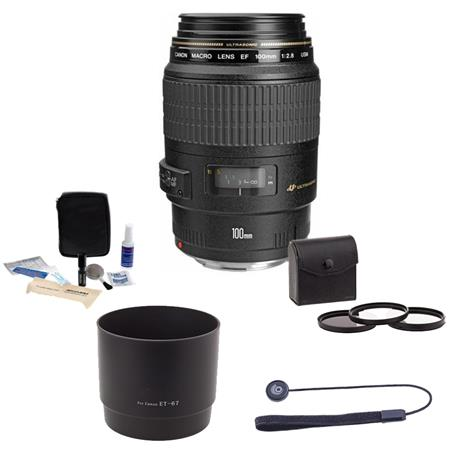 Canon EF 100mm f/2.8 USM Macro Auto Focus Lens Kit, USA Bundle with 58mm Filter Kit (UV/CPL/ND2), Lens Cap Leash, Professional Lens Cleaning Kit ,Adorama Lens Hood for Canon EF 100mm f/2.8 USM (ET67)