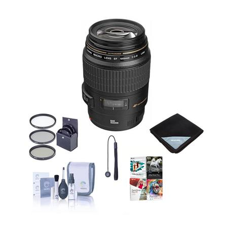 Canon EF 100mm f/2.8 USM Macro Auto Focus Lens ,USA - Bundle with 58mm Filter Kit, Lens Cap Leash, Lens Cleaning Kit, Lens Wrap (15x15), - with Pro Software Package (Includes Corel PaintShop Pro X7, Corel AfterShot Pro 2, Nuance OnmiPage 18, FileCenter Standard 7)
