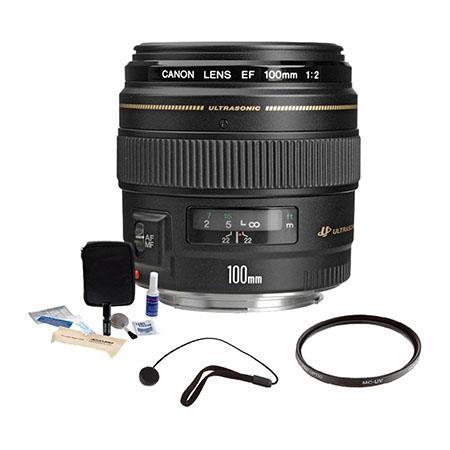 Canon EF 100mm f/2 USM Medium Telephoto AutoFocus Lens Kit, USA with Pro Optic 58mm MC UV Filter, Lens Cap Leash, Professional Lens Cleaning Kit