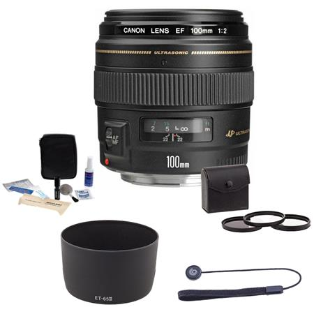 Canon EF 100mm f/2 USM Medium Telephoto AutoFocus Lens Kit, USA with Pro Optic 58mm Filter Kit (UV/CPL/ND2), Lens Cap Leash, Professional Lens Cleaning Kit, Dedicated Lens Hood for Canon ET-65 III