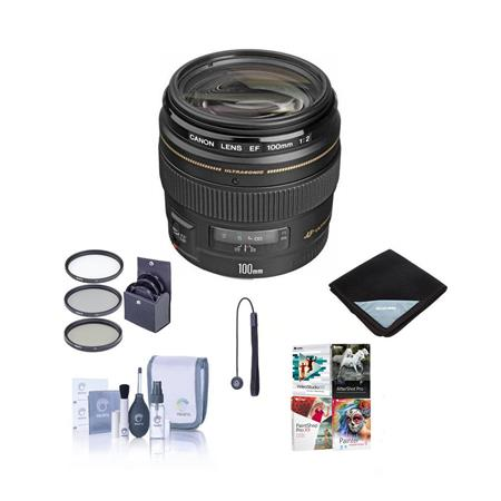 Canon EF 100mm f/2 USM Medium Telephoto AutoFocus USA Bundle with 58mm Filter Kit, Lens Cap Leash, Lens Cleaning Kit, Lens Wrap (15x15) - With Pro Software Package (Includes Corel PaintShop Pro X7, Corel AfterShot Pro 2, Nuance OnmiPage 18, FileCenter Standard 7)