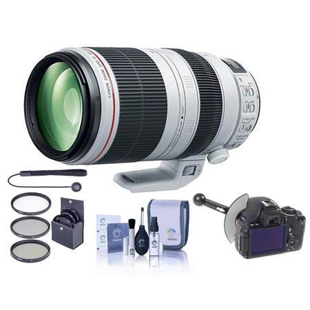 Canon EF 100-400mm f/4.5-5.6L IS II USM Zoom Lens - U.S.A. - Bundle With 77mm Filter Kit (UV/CPL/ND2), FocusShifter DSLR Follow Focus & Rack Focus, Cleaning Kit, Capleash II