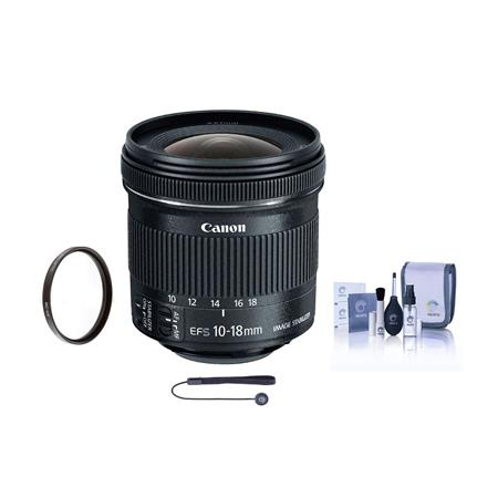 Canon EF-S 10-18mm f/4.5-5.6 IS STM Lens - Bundle With 67MM UV Filter, Cleaning Kit, Capleash II