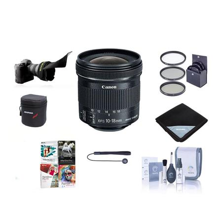 Canon EF-S 10-18mm f/4.5-5.6 IS STM Lens - Bundle With 67MM Filter Kit (UV/CPL/ND2), 3 Year (Drops & Spills) Warranty, Cleaning Kit, Capleash II