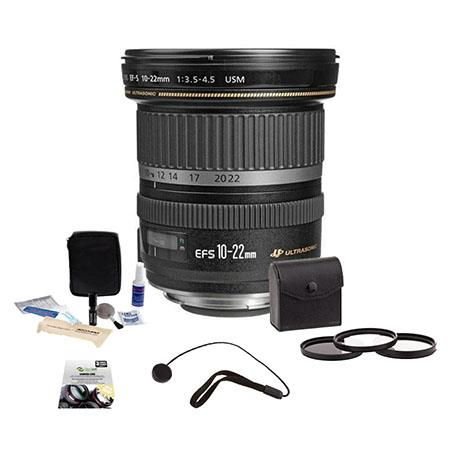 Canon EF-S 10-22mm f/3.5-4.5 USM Lens Kit - U.S.A. Warranty - Bundle With 77mm Filter Kit, New Leaf 3 Year (Drops & Spills) Warranty, Lens Cap Leash, Professional Lens Cleaning Kit