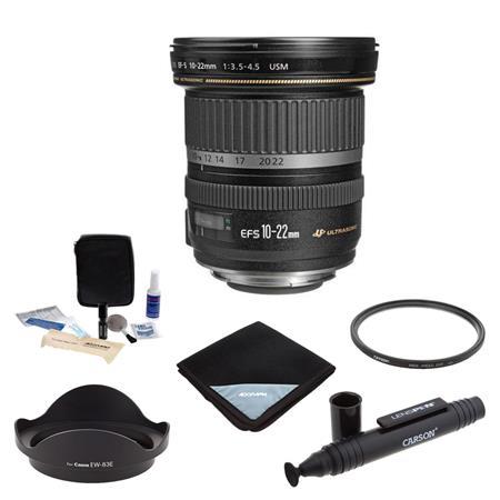 Canon EF-S 10-22mm f/3.5-4.5 USM Zoom Lens - U.S.A. Warranty. - Bundle With 77mm Wide UV Filter, Lens Wrap (15x15), Dedicated Lens Hood EW-83E, Cleaning Kit, LensPen Lens Cleaner
