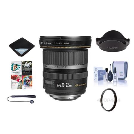 Canon EF-S 10-22mm f/3.5-4.5 USM Lens Kit - U.S.A. Warranty with Tiffen 77mm UV Wide Angle Filter, Lens Cap Leash, Lens Cleaning Kit, Lens Wrap (15x15), With Special Professional Software Package (Includes Corel PaintShop Pro X7, Corel AfterShot Pro 2, Nuance OnmiPage 18, FileCenter Standard 7)