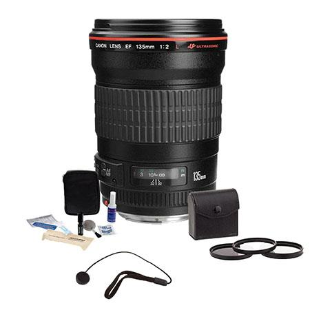 Canon EF 135mm f/2L USM AutoFocus Telephoto Lens Kit, USA with 72mm Photo Essentials Filter Kit, Lens Cap Leash, Professional Lens Cleaning Kit,