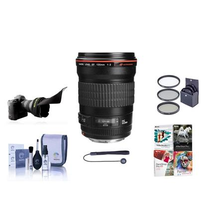 Canon EF 135mm f/2L USM AutoFocus Telephoto Lens Kit, USA with 72mm Photo Filter Kit, Lens Cap Leash, Pro Lens Cleaning Kit, Flex Lens Shade, With Special Professional Software Package (Includes Corel PaintShop Pro X7, Corel AfterShot Pro 2, Nuance OnmiPage 18, FileCenter Standard 7)