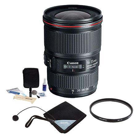 Canon EF 16-35mm f/4.0L IS USM Ultra Wide Angle Zoom Lens - U.S.A. Warranty - Bundle With 77mm UV Filter, Lens Wrap, Cleaning Kit, Lens Capleash