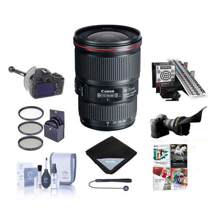Canon EF 16-35mm f/4.0L IS USM Ultra Wide Angle Zoom Lens - U.S.A. Warranty - Bundle With 77mm Filter Kit, New Leaf 3 Year (Drops & Spills) Warranty, Lens Wrap, Cleaning Kit, Lens Capleash