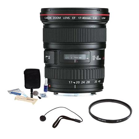 Canon EF 17-40mm f/4L USM Ultra Wide Angle Zoom Lens Kit, USA with Tiffen 77mm UV Wide Angle Filter, Lens Cap Leash, Professional Lens Cleaning Kit