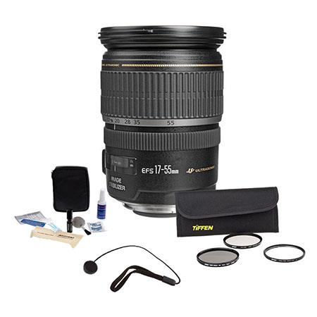 Canon EF-S 17-55mm f/2.8 IS USM Digital SLR Zoom Lens Kit - U.S.A. Warranty with Tiffen 77mm Wide Angle Filter Kit, Lens Cap Leash, Professional Lens Cleaning Kit