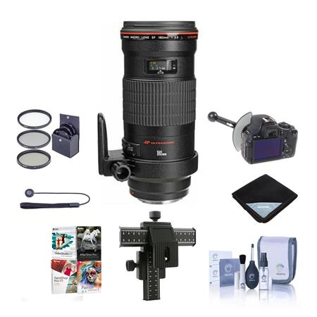 Canon EF 180mm f/3.5L Macro USM AF Lens Kit,- USA with 72mm Photo Essentials Filter Kit, Lens Cap Leash, Professional Lens Cleaning Kit, Flashpoint Four way Focusing Rail Fine Control for Macro Photography, Lens Wrap (19x19), FocusShifter DSLR Follow Focus & Rack Focus