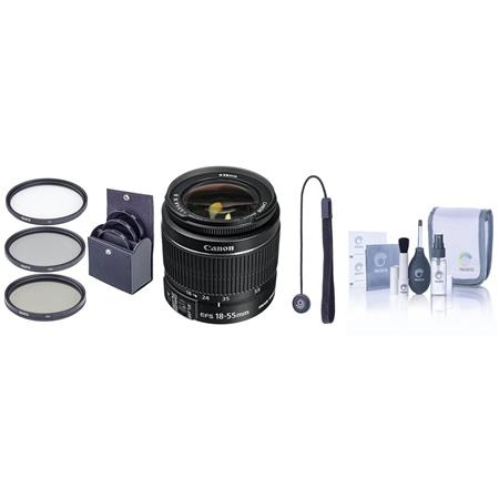 Canon EF-S 18-55mm f/3.5-5.6 IS Lens Kit, with Pro Optic 58mm MC UV Filter, Lens Cap Leash, Professional Lens Cleaning Kit