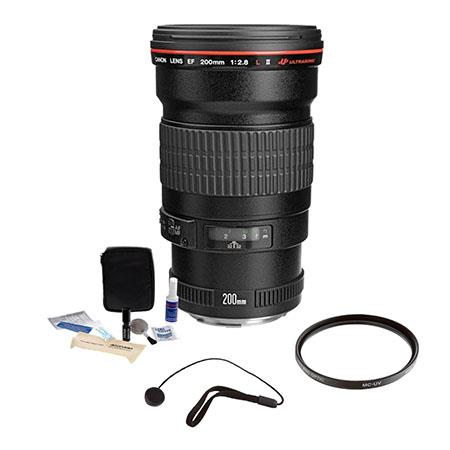 Canon EF 200mm f/2.8L-II (USM) AF Telephoto Lens Kit, USA with Pro Optic 72mm Multi Coated UV Filter. Lens Cap Leash, Professional Lens Cleaning Kit