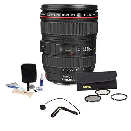 Canon EF 24-105mm f/4L IS USM AF Wide Angle Telephoto Zoom Lens kit, U.S.A. Warranty with Tiffen 77mm Wide Angle Filter Kit, Lens Cap Leash, Professional Lens Cleaning Kit,