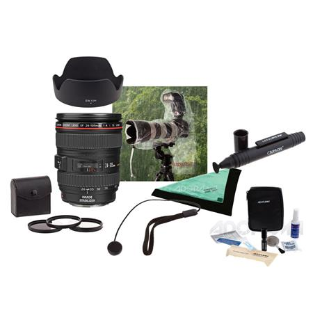 Canon EF 24 105mm f/4L IS USM AF WA/Telephoto Zoom Lens U.S.A. Warranty   Bundle with 77mm Filter Kit (UV/CPL/ND2), Lens Cleaning Kit, Lens Wrap (19X19), Capleash II, 2x Op/Tech 14in SLR Rainsleeve for Cameras, Dedicated Lens Hood (EW 83H), LensPen Lens Cleaner