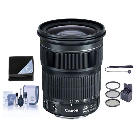 Canon EF 24-105mm f/3.5-5.6 IS STM Standard Zoom Lens - Bundle With 77mm Filter Kit (UV/CPL/ND2), Cleaning Kit, Capleash II, Lens Wrap (19X19)