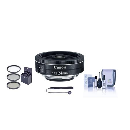 Canon EF-S 24mm f/2.8 STM Wide Angle Lens - U.S.A. Warranty - Bundle With 52mm UV Filter, Cleaning Kit, Capleash II