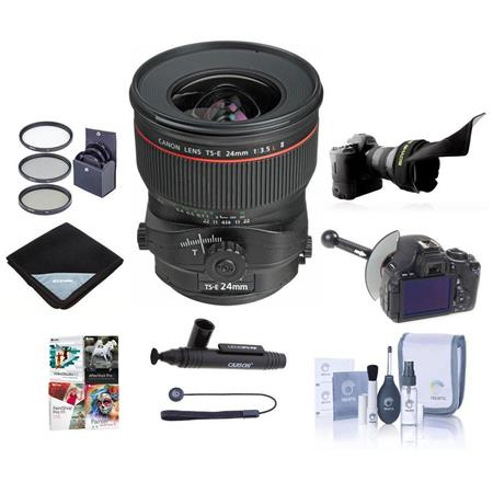 Canon TS-E 24mm f/3.5L II Tilt-Shift Lens - USA Warranty - Bundle- with Pro Optic 82MM Dig. Essentials Filter Kit, New Leaf 2 Year Extended (Spill & Drops) Warranty, Pro -Optic Lens Wrap 19X19 Black, Pro Cleaning KIt, Lenspen Cleaner, CapKeeper 2 Lens Cap Leash