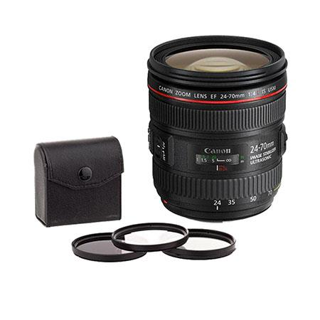 Canon EF 24-70mm f/4L IS USM Zoom Lens, U.S.A. Warranty - Bundle - with 77mm Digital Essentials Filter Kit (UV, CP, ND2 & Pouch)