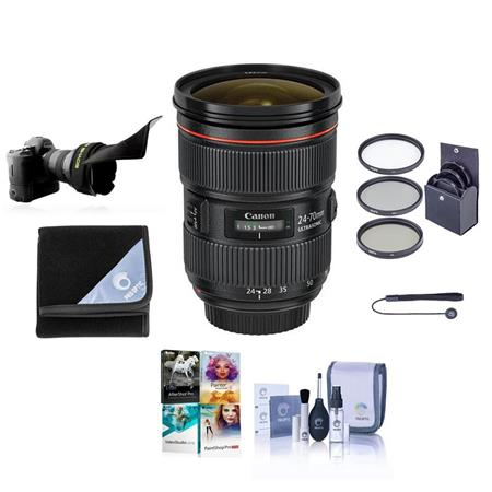 Canon EF 24-70mm f/2.8L II USM Zoom Lens - U.S.A. Warranty - Bundle - with Pro Optic 82mm Photo Essentials Filter Kit, Lens Cap Leash, Professional Lens Cleaning Kit