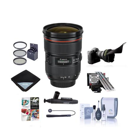 Canon EF 24-70mm f/2.8L II USM Zoom Lens - U.S.A. Warranty - Bundle - with Pro Optic 82MM Dig. Essentials Filter Kit, New Leaf 3 Year Extended (Spill & Drops) Warranty, Pro -Optic Lens Wrap 19X19 Black, Pro Cleaning KIt, CapKeeper 2 Lens Cap Leash, Lenspen