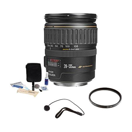 Canon EF 28-135mm f/3.5-5.6 IS USM Image Stabilized AF Lens Kit, USA with Pro Optic 72mm MultiCoated UV Filter , Lens Cap Leash, Professional Lens Cleaning Kit