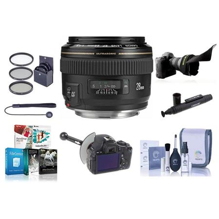 Canon EF 28mm f/1.8 USM AutoFocus Wide Angle Lens kit, USA - Bundle with ProOptic 58mm MC Filter Kit (UV/CPL/ND2), New Leaf 3 Year (Drops & Spills) Warranty, Lens Cap Leash, Professional Lens Cleaning Kit