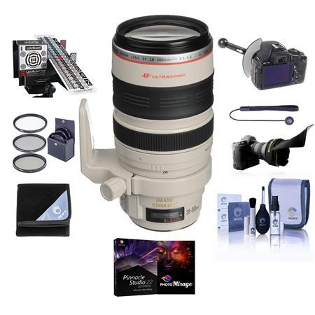 Canon EF 28-300mm f/3.5-5.6L IS USM AF Lens Kit,- USA with 77mm Photo Essentials Filter Kit, FocusShifter DSLR Follow Focus & Rack Focus, Lens Wrap (19x19), LensAlign MkII Focus Calibration System, Lens Cap Leash, Professional Lens Cleaning Kit