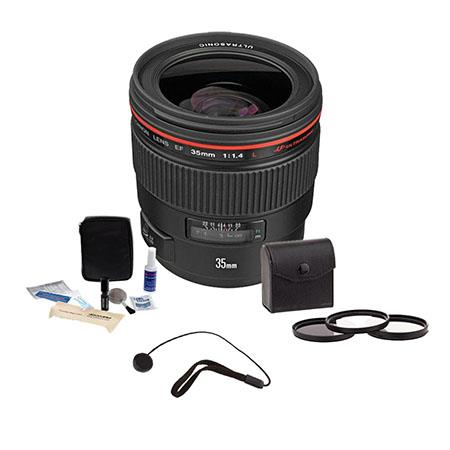 Canon EF 35mm f/1.4L USM AutoFocus Lens Kit,- USA with 72mm Digital Essentials Filter Kit, Lens Cap Leash, Professional Lens Cleaning Kit,