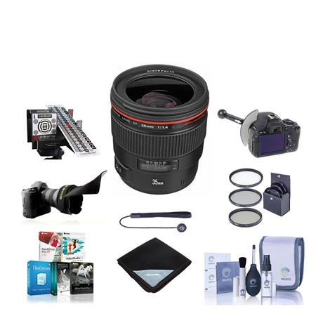 Canon EF 35mm f/1.4L USM AutoFocus Lens Kit USA Bundle with 72mm Digital Essentials Filter Kit, New Leaf 3 Year (Drops & Spills)Warranty, Lens Cap Leash, Professional Lens Cleaning Kit, Lens Wrap (15x15)