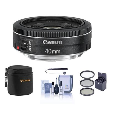 Canon EF 40mm f/2.8 STM Pancake Lens - USA Warranty - Bundle - with Pro Optic 52mm MC UV Filter, Lens Cap Leash, Professional Lens Cleaning Kit, Lens Pouch