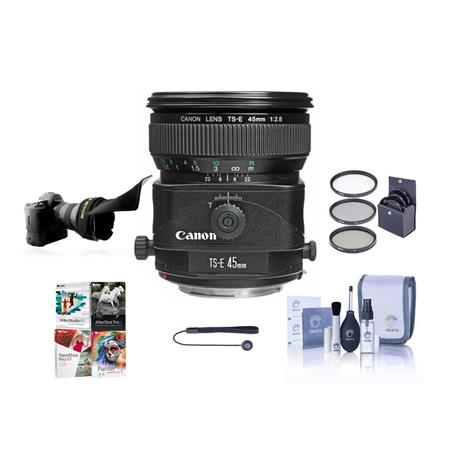 Canon TS-E 45mm f/2.8 Tilt and Shift Manual Focus Lens Kit, USA with 72mm Filter Kit, Adjustable Flexible Lens Shade, Lens Cap Leash, Pro Lens Cleaning Kit, With Special Professional Software Package (Includes Corel PaintShop Pro X7, Corel AfterShot Pro 2, Nuance OnmiPage 18, FileCenter Standard 7)