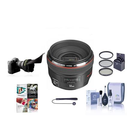 Canon EF 50mm f/1.2L USM Ultra-Fast Standard AutoFocus Lens Kit, USA with 72mm Filter Kit, Lens Cap Leash, Lens Cleaning Kit, Adjustable Flexible Lens Shade, With Special Professional Software Package (Includes Corel PaintShop Pro X7, Corel AfterShot Pro 2, Nuance OnmiPage 18, FileCenter Standard 7)