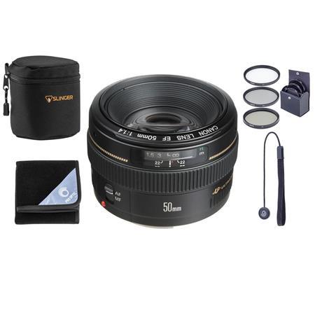 """Canon EF 50mm f/1.4 USM Standard AutoFocus Lens Kit, USA Bundle With 58mm Filter Kit (UV/CPL/ND2), Lens Cap Leash, Lens Pouch, Lens Wrap (15x15"""")"""