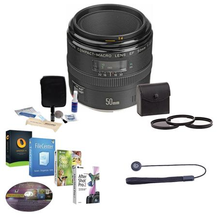 Canon EF 50mm f/2.5 Macro AF Lens Kit, USA with 52mm Filter Kit , Lens Cap Leash, Professional Lens Cleaning Kit With Pro Software Package (Includes Corel PaintShop Pro X7, Corel AfterShot Pro 2, Nuance OnmiPage 18, FileCenter Standard 7)