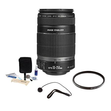 Canon EF-S 55-250mm f/4-5.6 IS Image Stabilizer Lens Kit, USA with Pro Optic 58mm MC UV Filter, Lens Cap Leash, Professional Lens Cleaning Kit