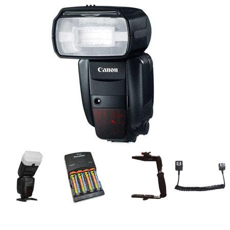 Canon Speedlite 600EX-RT, Shoe Mount Flash U.S.A. Warranty - Deluxe Outfit - with 4 NiMH Batteries, Charger, Sto-Fen Omni-Bounce, Flashpoint Quick Flip Flash Bracket. Off-Camera eTTL2 3' Coiled Cord for Canon EOS
